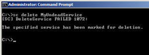 Read more about the article The specified service has been marked for deletion error