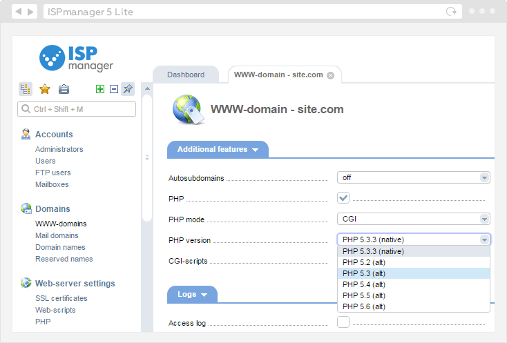 ISPmanager PHP Selector