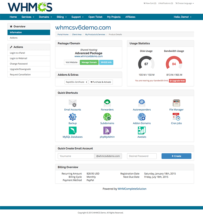 WHMCS 6 new cPanel user interface