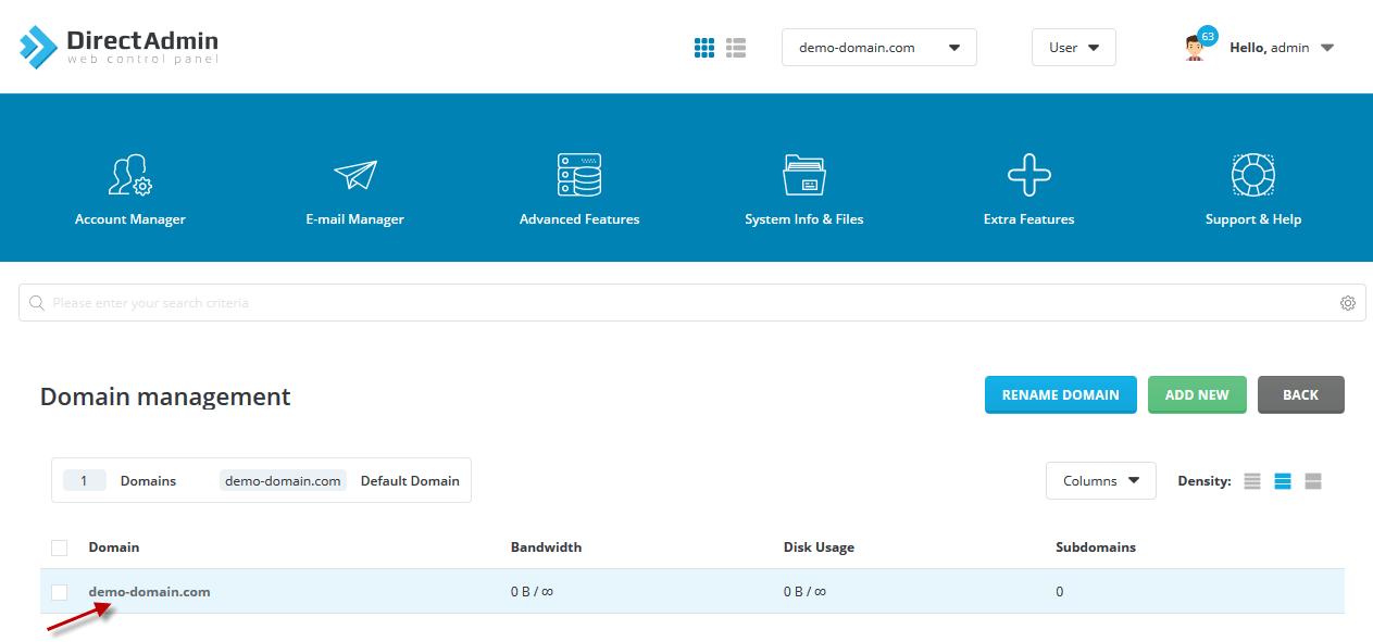 DirectAdmin Add Domain